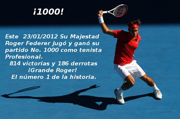 Federer venció a Del Potro en su partido No. 1000 como tenista profesional, Australia 2012